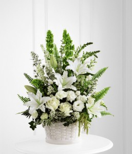 sympathy flower arrangement in pot